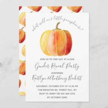 Little Pumpkin Gender Reveal Party Invitation