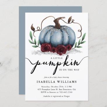 Little Pumpkin Rustic Blue Silver Baby Shower Invitation
