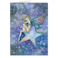 Little Star Fairy Blank Card by Molly Harrison