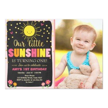 Little sunshine Birthday invitation Pink Gold Girl