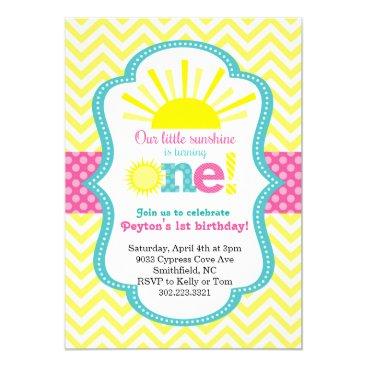 Little Sunshine First Birthday Party Invitation