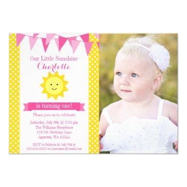 Little Sunshine Pink Yellow Bunting Birthday Photo Invitation