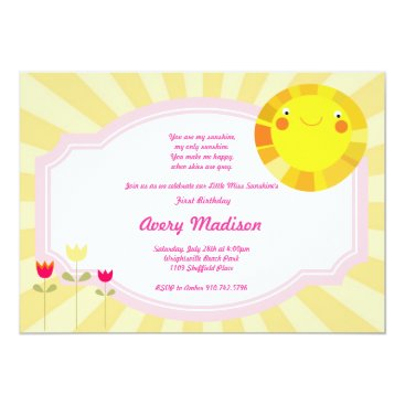 Little Sunshine Summer Spring Baby Shower birthday Invitation