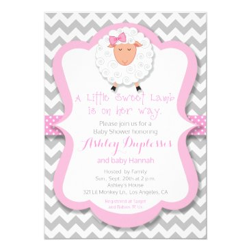 Little Sweet Lamb Girl Baby Shower Invitation