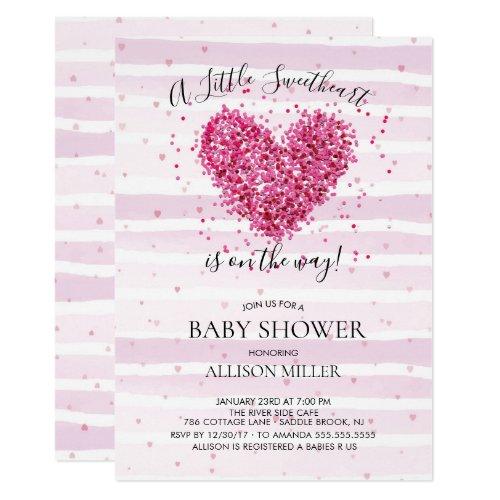 Little Sweetheart Girls Baby Shower Invitation