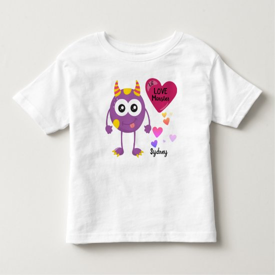 Little Valentine's Love Monster Critter and Hearts Toddler T-shirt