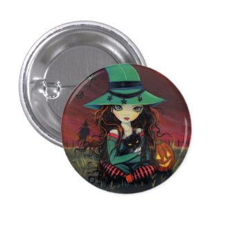 LIttle Witch w Black Cat Halloween Button