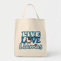 Live, Love, Llamas Tote Bag
