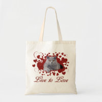 Live to love cat tote bag