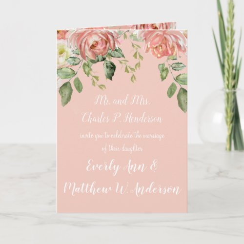 Living Coral Pink or any color Floral Wedding Invitation
