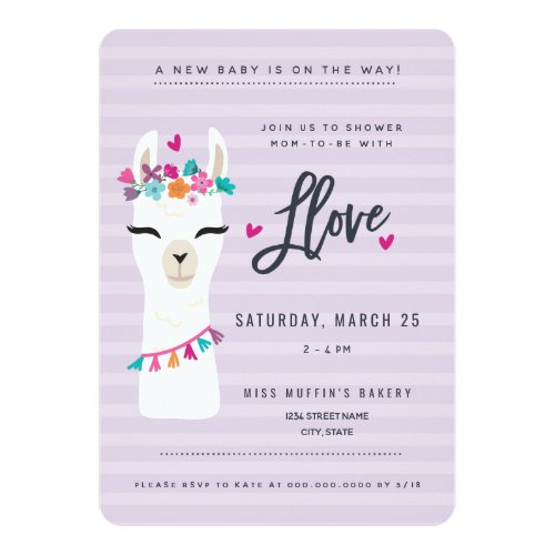 LLama baby shower Invitation // showered in love