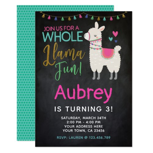 Llama Birthday Invitation - Chalkboard