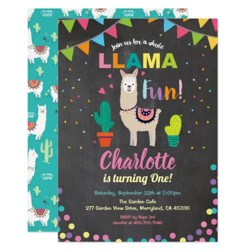 Llama birthday invitation. fun girl first 1st bday invitation