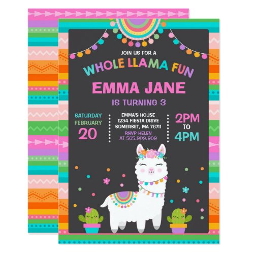 Llama Birthday Invitation Whole Llama Fun Party