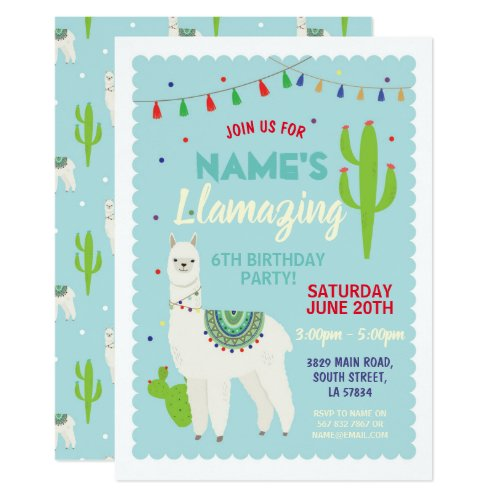 Llama Birthday Party Tassels Cactus Invite