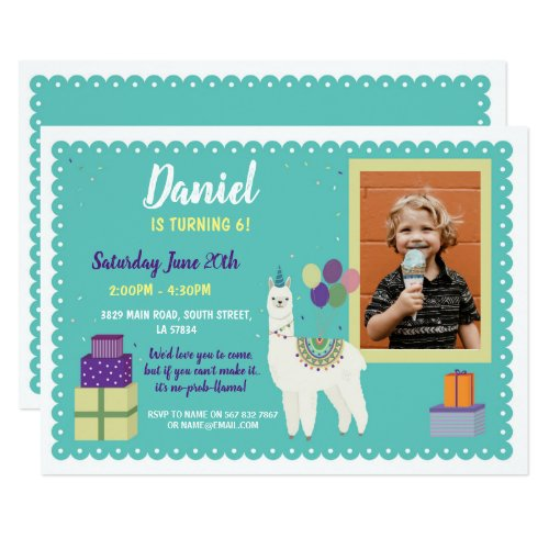 Llama Birthday Photo Party Presents Fun Invite