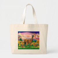Llama (brown) - Autumn Angel Large Tote Bag