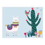 ❤️ Cute Llama With Cactus Postcard