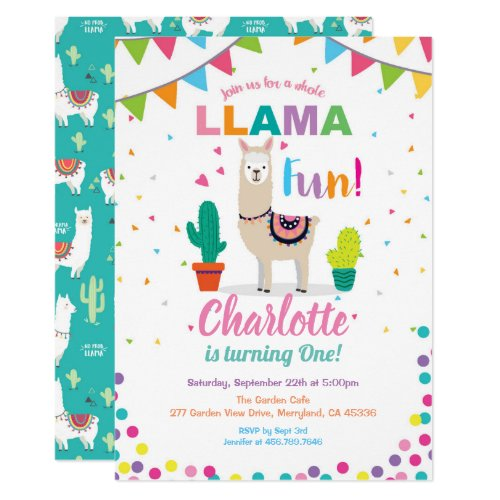 Llama fun birthday invitation. Girl first 1st bday Invitation