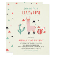 Llama Fun Birthday Party Card