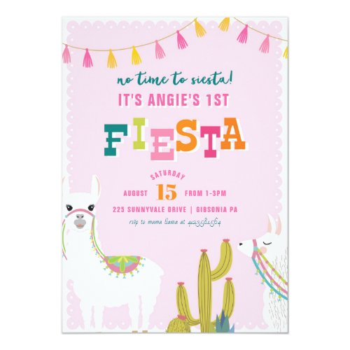 Llama Fun Fiesta Alpaca Birthday Invitation
