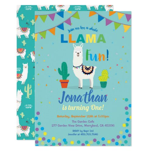 Llama fun first 1st birthday invitation. Turquoise Invitation