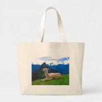 LLama in Machu Picchu Large Tote Bag