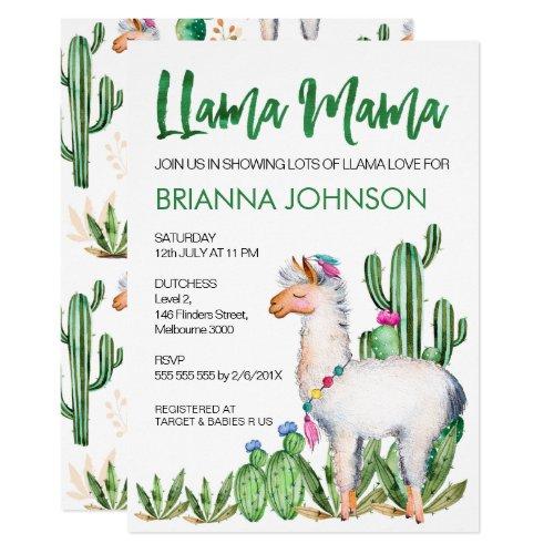 LLama Love Watercolor Baby Shower Invitation