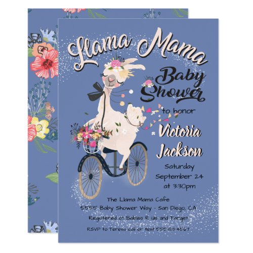 llama Momma baby shower invitations