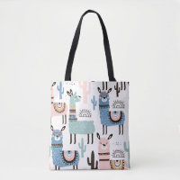 Llama Patterned Tote in Blue, Green & Pink