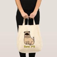 Llama Pug Grocery Tote Bag