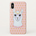 Llama Queen & Golden Polka Dots iPhone X Case