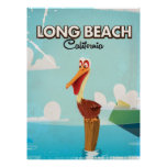 Long Beach California Vintage Pelican travel Poster