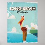 Long Beach California Vintage Pelican travel Poster