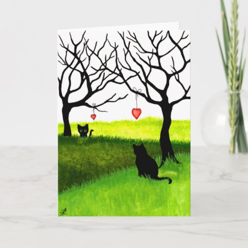 Long Distance Love Friendship Cats Card by Bihrle