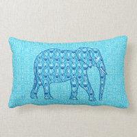 Lotus flower elephant - turquoise lumbar pillow