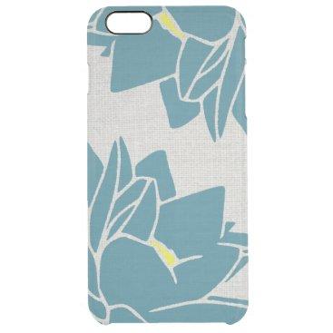 Lotus Flower linen look blue Clear iPhone 6 Plus Case