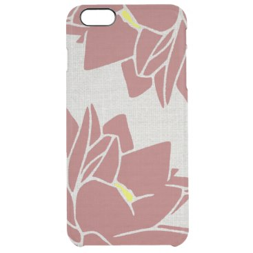 Lotus Flower linen look red Clear iPhone 6 Plus Case