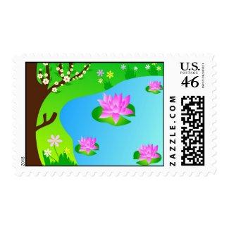Lotus flowers stamp