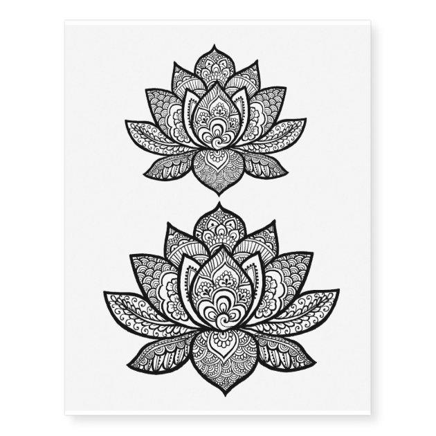 Lotus Henna Design Temporary Tattoo Sheet