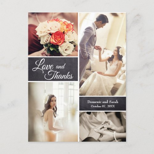 LOVE and THANKS Modern Script Wedding Photos Announcement Postcard
