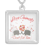 Love Animals Dont Eat Them Silver Plated Necklace
