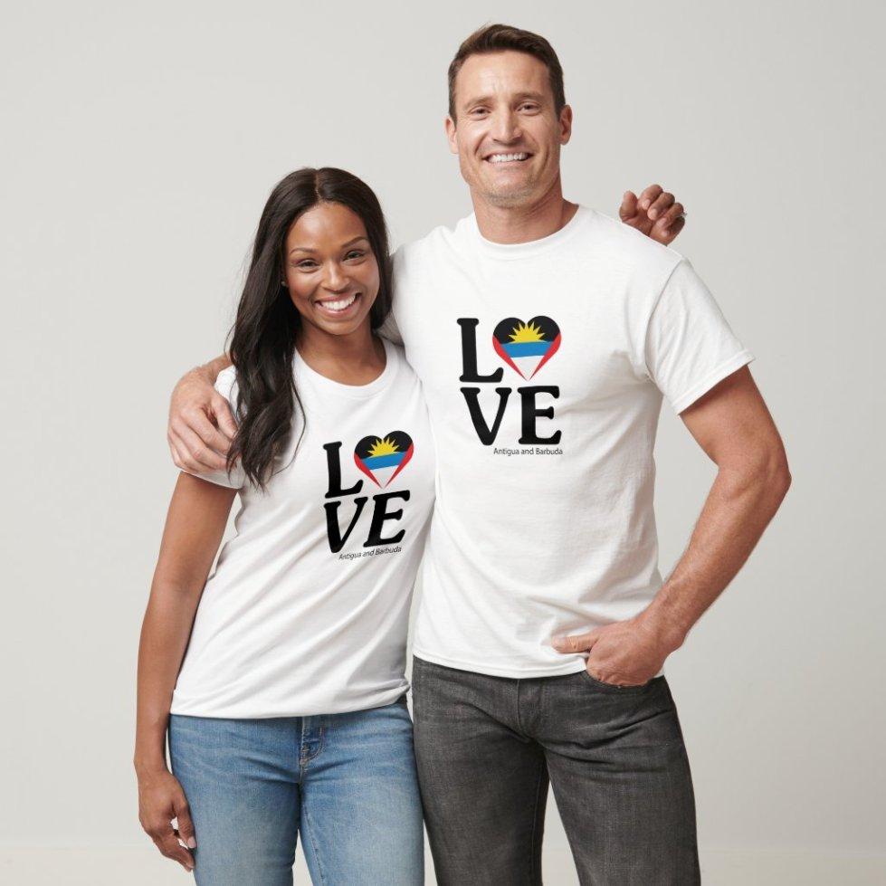Love Antigua and Barbuda Couple T-Shirt