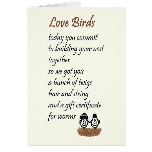 Love Birds A Funny Wedding Poem Greeting Card Zazzle