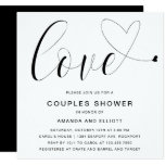 Love Black and White Typography Couples Shower Invitation