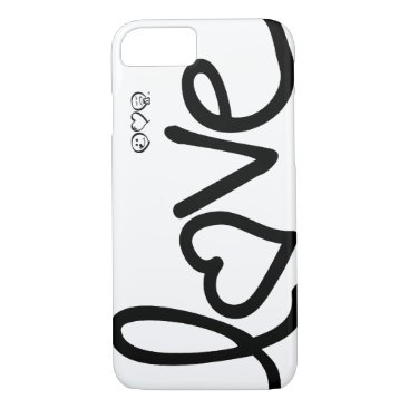 love - black and white typography iPhone 7 case
