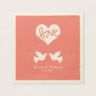 Love Doves - Coral Pink Napkin
