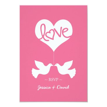 Love Doves with Heart RSVP Card
