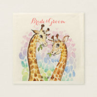 Love giraffe wedding day watercolor napkin