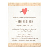 Love heart & arrow wood illustration Bridal Shower Invites
